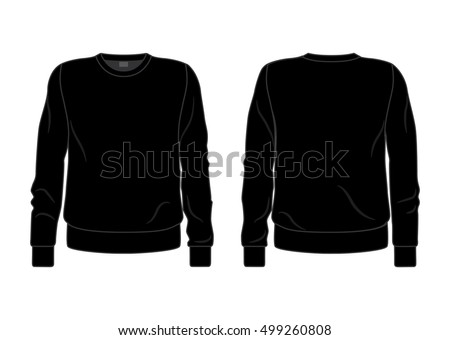 Black men's sweatshirt template front and back view