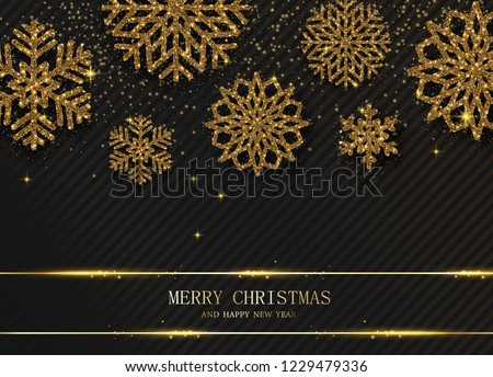 Black Merry Christmas and Happy New Year card with beautiful gold shiny snowflakes. Vector background. #1229479336