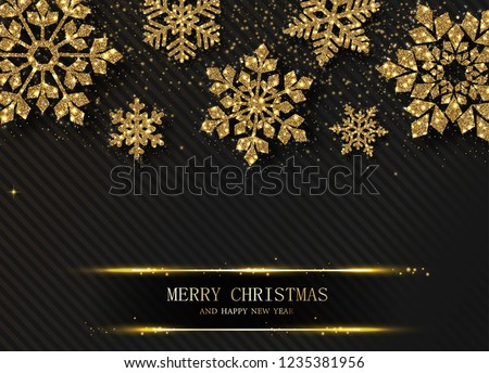 Black Merry Christmas and Happy New Year card with beautiful golden shiny snowflakes. Vector background.