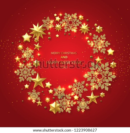 Black Merry Christmas and Happy New Year card with golden shiny stars and snowflakes. Vector background. #1223908627