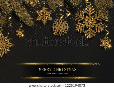 Black Merry Christmas and Happy New Year greeting card with beautiful golden shiny snowflakes and fir branches. Vector background. #1225194073