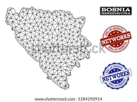 black mesh vector map of bosnia