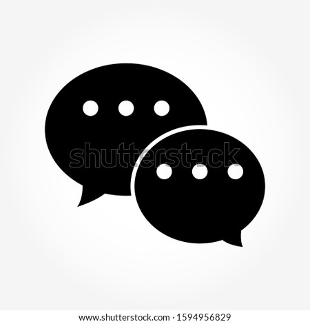 Black message icon. Vector illustration.