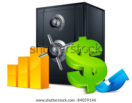 Black metal bank safes with money symbol and shadow on white, vector illustration