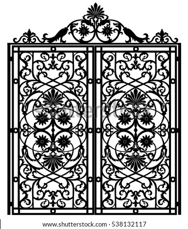 black metal gate with forged