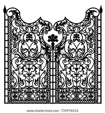black metal gate with forged...