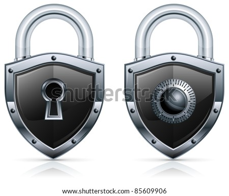 Black metal padlock in shape of shield on white, vector illustration