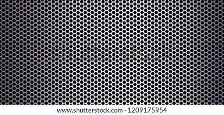 Black Metal steel plate background or stainless texture background Vector Honeycomb monochrome honey seamless pattern hexagon mosaic aluminum silver surface fun funny sign signs view Beehive honey bee