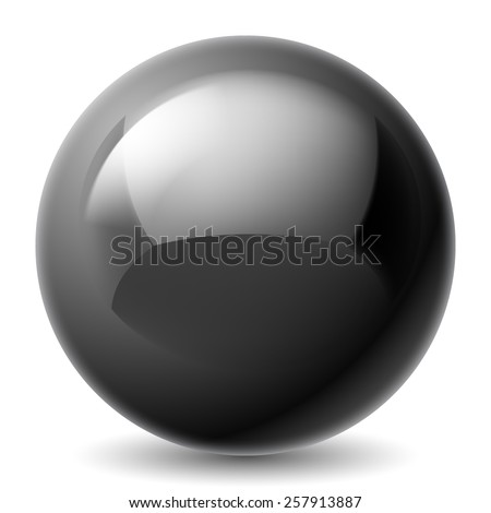 Black metallic sphere isolated on white background