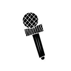 Black microphone isolated on white background. Karaoke cartoon studio line art record radio music speaker. Electronic acoustic audio podcast vocal sound. Media speech mike.