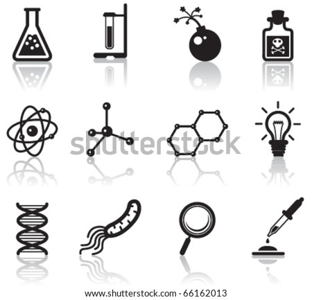 Black minimalistic science icons set - stock vector