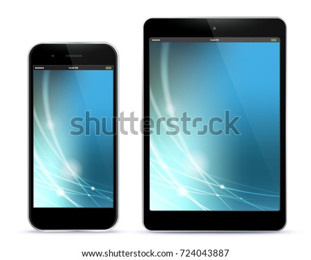 black mobile phone and tablet