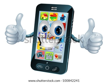 Black mobile phone mascot character cartoon illustration giving a thumbs up