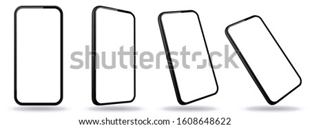Black Mobile Phone Vector Mockup With Perspective Views. Smartphone Screens Isolated on Transparent Background.