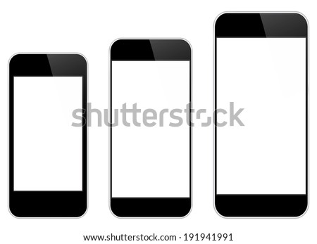 Black Mobile Phones Comparison Between Similar iPhone 5 And iPhone 6 Isolated On White