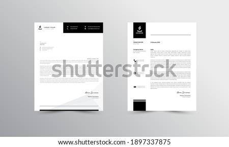 black Modern Business Letterhead Design Template, Abtract Letterhead Design, Letterhead Template,  - vector