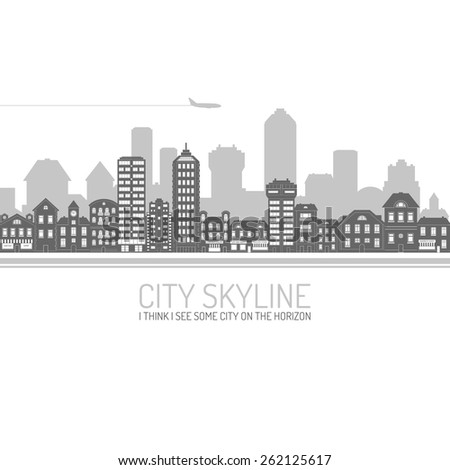 Black modern city view skyline poster with house and commercial buildings vector illustration
