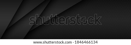 Black modern material design with hexagonal pattern, dark overlayed sheets of paper, corporate template for your business, vector abstract widescreen background