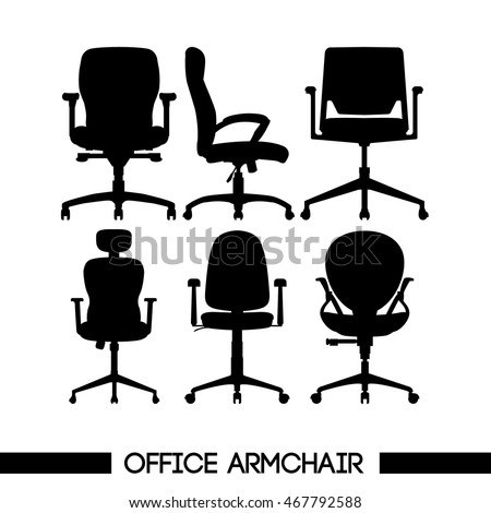 Black modern office armchair set, in outlines, over white background. Digital vector image