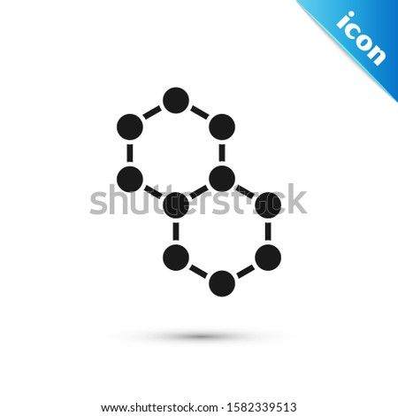 Black Molecule icon isolated on white background. Structure of molecules in chemistry, science teachers innovative educational poster.  Vector Illustration