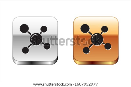 Black Molecule icon isolated on white background. Structure of molecules in chemistry, science teachers innovative educational poster. Silver-gold square button. Vector Illustration