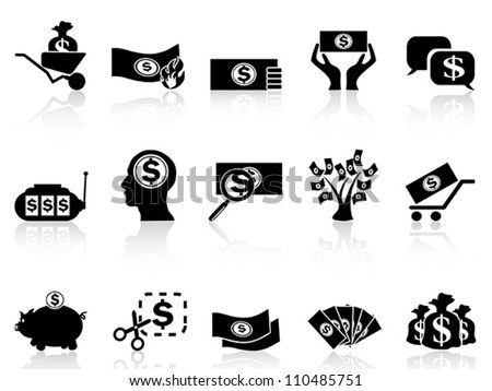 black money icons set - stock vector