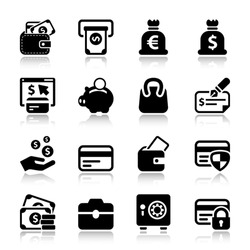 black money icons set, for business and finance. with reflex