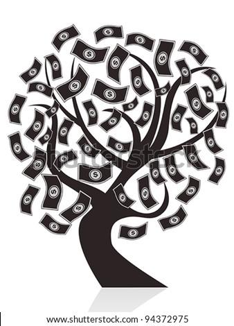 black money tree - stock vector