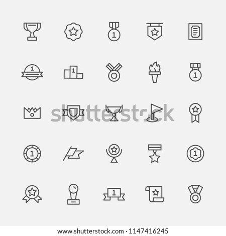 black monotone line icons about winning prize. flat design style vector graphic illustration set