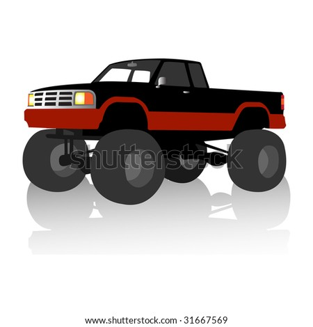 black monster truck, vector illustration