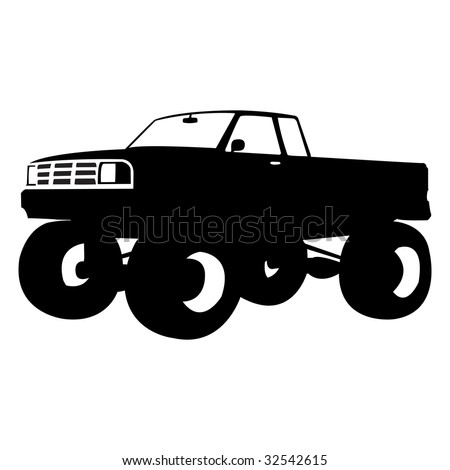 All Black Monster Truck Black Monster Truck Vector
