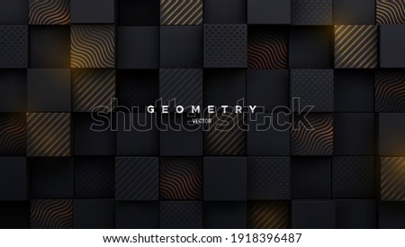 Black mosaic background. Random cubes backdrop. Vector geometric illustration. Square shapes with engraved gold patterns. Architectural abstraction. Interior concept. Business or corporate decoration