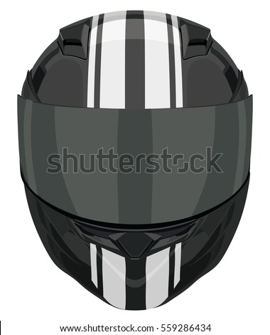 Black motorcycle helmet with strips on a white background