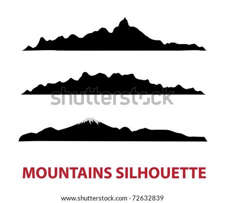Black mountain vector silhouettes