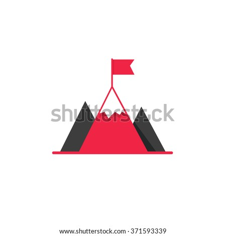 Black mountains with red flag on top vector logo, concept of leadership emblem, achievement success, mission symbol, mountaineering, hiking brand modern flat design isolated on white background