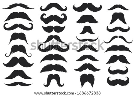 Black moustaches. Mustache silhouettes, hipster and gentleman style elegance design, barbershop facial, male face accessory vector icons Stock foto ©