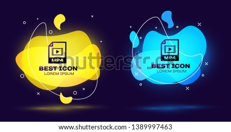 Black MP4 file document icon. Download mp4 button icon isolated. MP4 file symbol. Set of liquid color abstract geometric shapes. Vector Illustration
