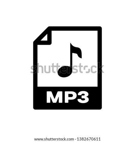 Black MP3 file document icon. Download mp3 button icon isolated. Mp3 music format sign. MP3 file symbol. Vector Illustration