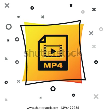 Black MP4 file document icon. Download mp4 button icon isolated on white background. MP4 file symbol. Yellow square button. Vector Illustration