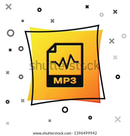 Black MP3 file document icon. Download mp3 button icon isolated on white background. Mp3 music format sign. MP3 file symbol. Yellow square button. Vector Illustration