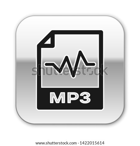 Black MP3 file document icon. Download mp3 button icon isolated on white background. Mp3 music format sign. MP3 file symbol. Silver square button. Vector Illustration
