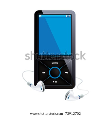 Black mp3 player, blue display and white handset, on a white background.