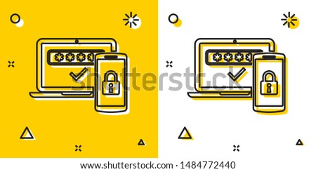 Black Multi factor, two steps authentication icon isolated on yellow and white background. Random dynamic shapes. Vector Illustration