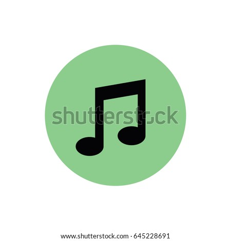 Black music note icon vector. Green button. Green circle