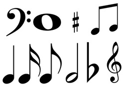 Black music notes on white background.