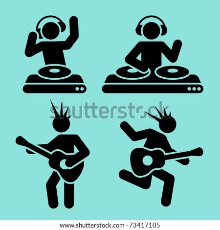 black music pictograms of dj