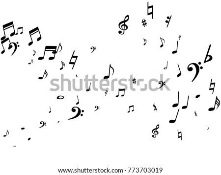 black musical notes flying