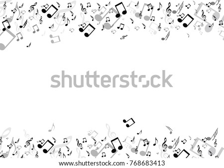 Black musical notes flying isolated on white background.Vector
