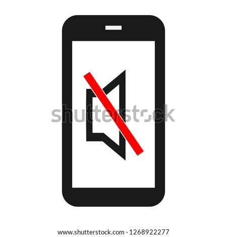 black mute smartphone in silent mode with turn off sound sign on white screen