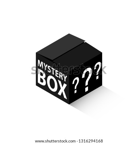 Black mystery box isometric icon. Clipart image isolated on white background